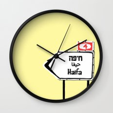 Haifa This Way Wall Clock