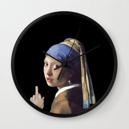 Girl With a Pearl Earring being Badass - Johannes Vermeer Wall Clock