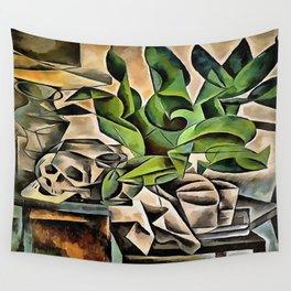 Still life with Skull After Bohumil Kubista Wall Tapestry