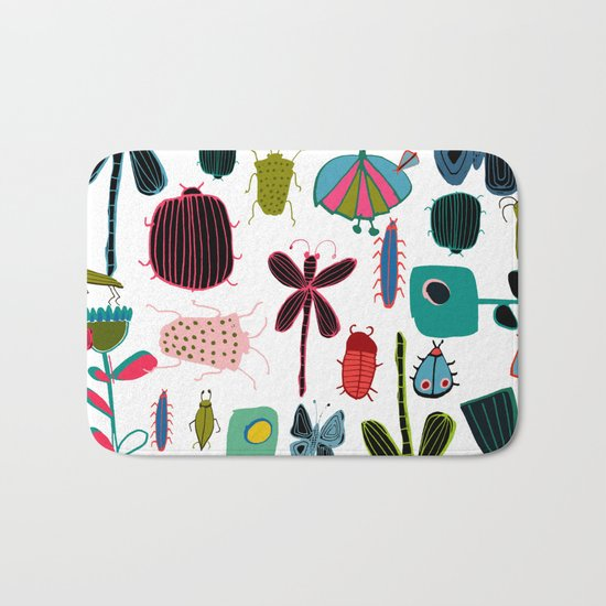 Insect watercolor white Bath Mat