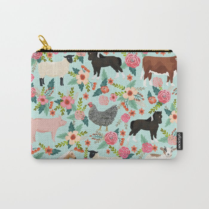 Farm gifts chickens cattle pigs cows sheep pony horses farmer homesteader Carry-All Pouch