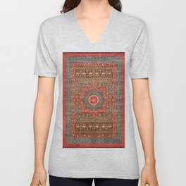 Traditional Boho Style Vintage Moroccan Design  Unisex V-Neck