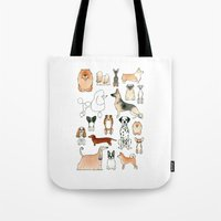 dogs Tote Bags featuring Dogs by Rebecca Bennett