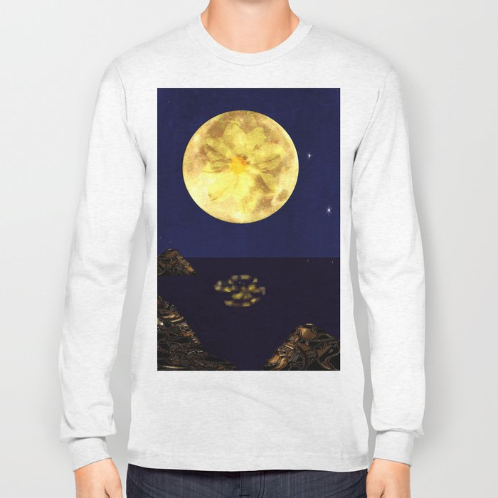 Yellow Dahlia Moon Long Sleeve T-shirt
