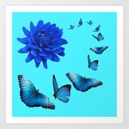 BLUE DAHLIA FLOWER & BLUE BUTTERFLIES ALLURE Art Print