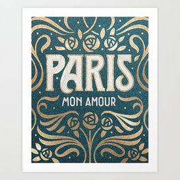 Paris (teal) Art Print