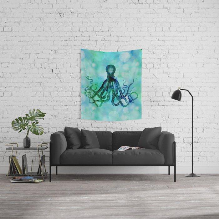 Octopus blue green mixed media underwater artwork Wall Tapestry