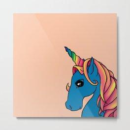 Rainbow Nursery Unicorn Metal Print
