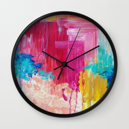 ELATED - Beautiful Bright Colorful Modern Abstract Painting Wild Rainbow Pastel Pink Color Wall Clock