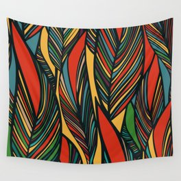 Tropical color leaves pattern Wall Tapestry