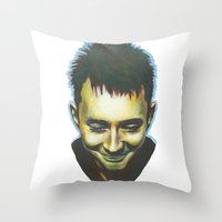 radiohead Throw Pillows featuring Radiohead by Laura O'Connor