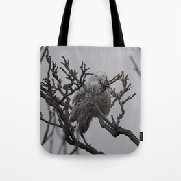 Snowy Owl in Tree Tote Bag