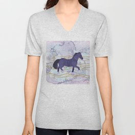 The Musical Horse Trotting Through the Rhythms of Nature Unisex V-Neck