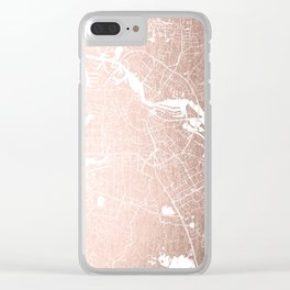 Amsterdam Rosegold on White Street Map Clear iPhone Case