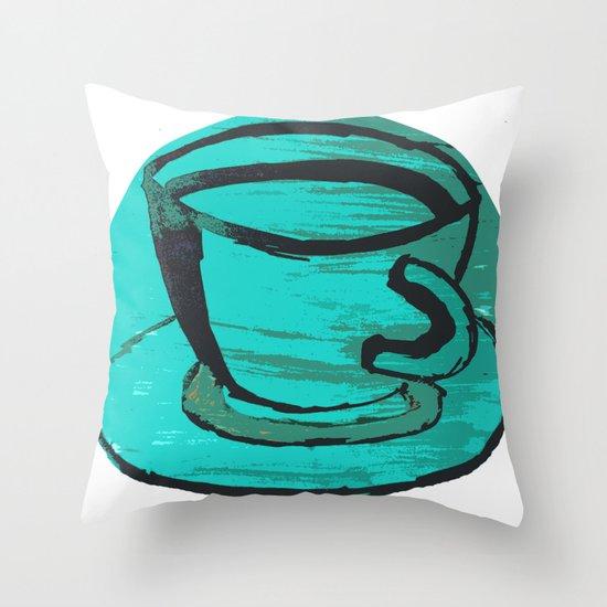tea cup in green Throw Pillow