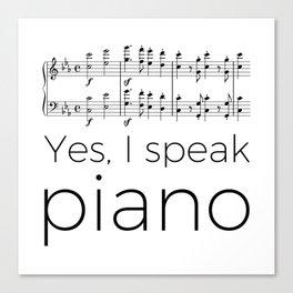 I speak piano Canvas Print