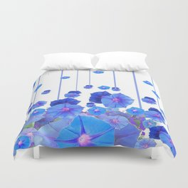 BABY BLUE MORNING GLORIES RAIN ABSTRACT ART Duvet Cover