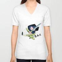 mulan V-neck T-shirts featuring Mulan 2 by Angelus