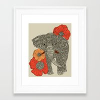 line Framed Art Prints featuring The Elephant by Valentina Harper