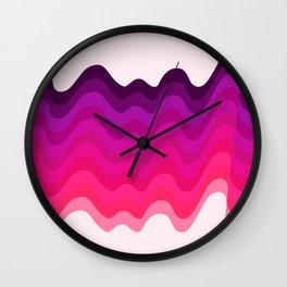 Retro Ripple in Pinks Wall Clock