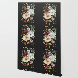 Colorful Wildflower Bouquet on Charcoal Black Wallpaper