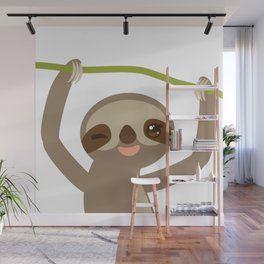 funny and cute smiling Three-toed sloth on green branch 2 Wall Mural