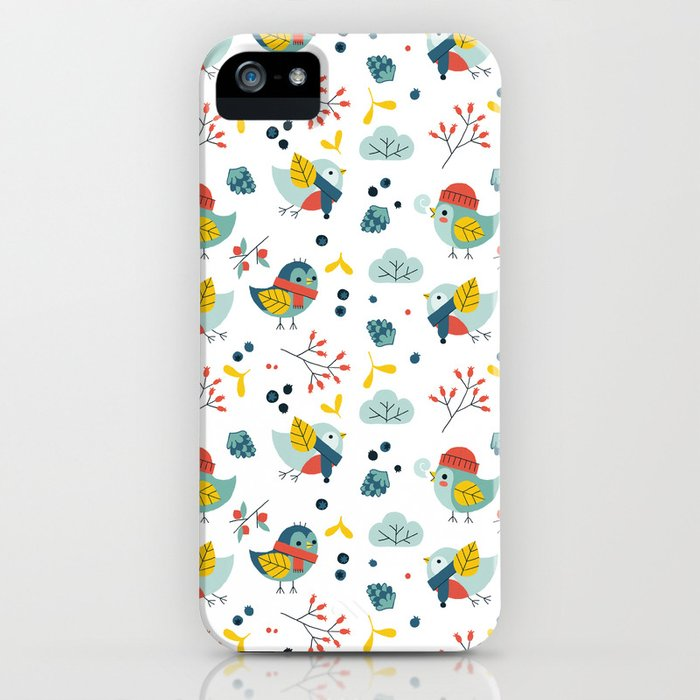 winter birds pattern iPhone Case