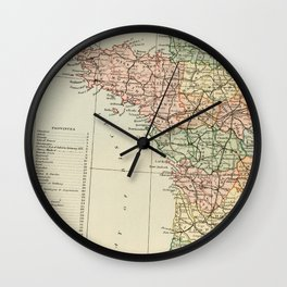 Old Map of the West of France Wall Clock