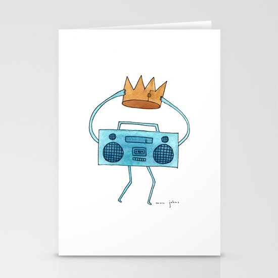 boombox holding a paper crown Stationery Cards