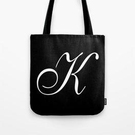 Elegant And Stylish Black And White Monogram K Tote Bag