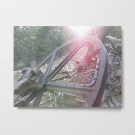 Old Wagon Wheel with Sunburst Metal Print