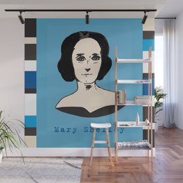 Mary Shelley, hand-drawn portrait Wall Mural