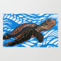 turtle Area & Throw Rugs featuring Turtle by Lonica Photography & Poly Designs