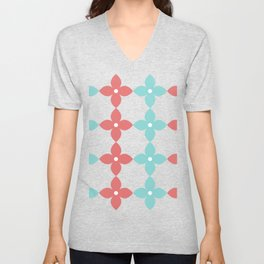 Complementary colors floral pattern - red and blue Unisex V-Neck