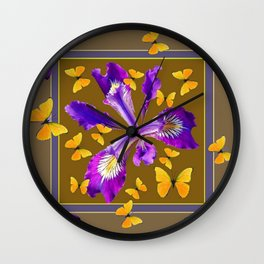 YELLOW & PURPLE BUTTERFLIES PURPLE IRIS PUCE Wall Clock