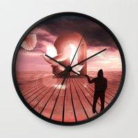 surrealism Wall Clocks featuring surrealism  by mark ashkenazi
