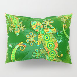 Gecko Lizard Colorful Tattoo Style Pillow Sham