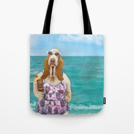 Basset Hound on the Beach Tote Bag
