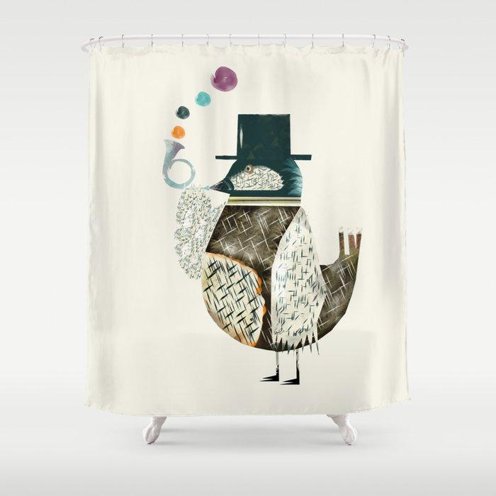 The Dapper Bird Shower Curtain By Bribuckley