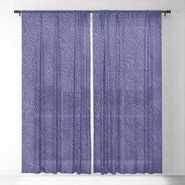 Royal Blue Silk Moire Pattern Sheer Curtain