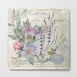 Vintage Blue Floral Postcard Metal Print