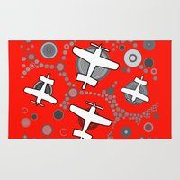 airplanes Area & Throw Rugs featuring airplanes in red by Isabella Asratyan