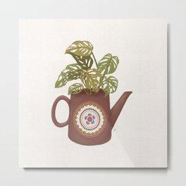 Monstera Teapot Metal Print