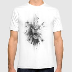 STONE LION Mens Fitted Tee White LARGE