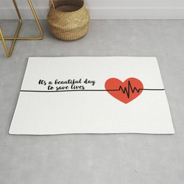 It's a beautiful day to save lives Derek Shepard Quote Greys Anatomy Rug