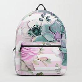 Simply Succulent Garden on Desert Rose Pink Striped Backpack