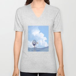 """Blue Windmill Blue Sky"" by Murray Bolesta Unisex V-Neck"