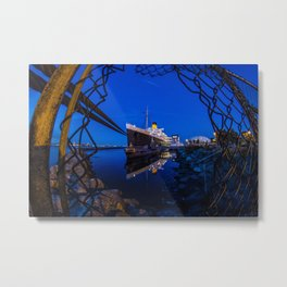 The Queen Mary at Night Metal Print