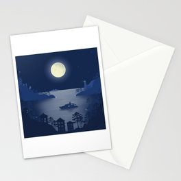 Night in Liguria - Minimal Art Stationery Cards