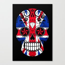 Sugar Skull with Roses and the Union Jack Flag Canvas Print